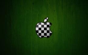 Картинка зеленый, фон, apple, яблоко, логотип, шахматы, футбольный мяч, расцветка