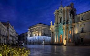 Картинка ночь, огни, площадь, Италия, собор, Сицилия, Сиракуза