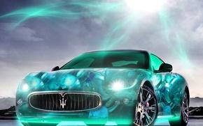 Картинка солнце, свет, фары, Maserati, неон, яркость, 2880x1800, voiture