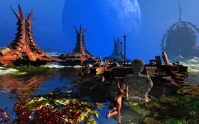 Картинка небо, трава, вода, девушка, планета, башня, истукан
