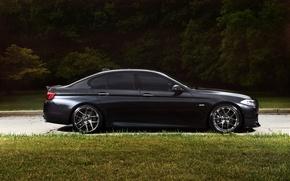 Картинка чёрный, bmw, бмв, профиль, wheels, диски, black, f10, тонированный, 550i