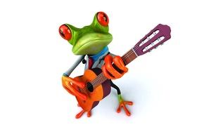 Картинка лягушка, guitar, frog, funny