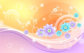 Картинка линии, цветы, коллаж, краски, открытка