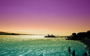 Обои море, небо, закат, корабль