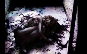 Картинка темнота, одиночество, страх, отчаяние, боль, депрессия, Gilgamesh, рваная одежда, Madoka Kiyoko, свернулась калачиком