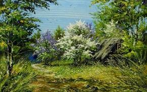 Картинка дорога, дом, камни, картина, весна, день, май, живопись, тропинка, сирень, хутор, Ходюков, мастихин, сарайка