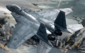 Обои самолет, война, город, истребитель, ace combat 6