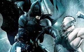 Обои The Dark Knight Rises, Кристиан Бэйл, Batman, Бэтмен, Том Харди, Batman Bane fight, Бэйн, Tom ...