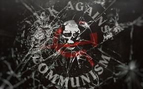 Картинка стекло, трещины, музыка, Metal, Rock, разбитое стекло, Рок, RAC, жанр музыки, Rock Against Communism, серп …