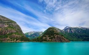 Картинка море, горы, скалы, побережье, Аляска, США