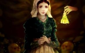 Картинка девушка, рука, арт, черепа, колокольчик, Over the Garden Wall, Sillyselly, Lorna, The Ringing of the …