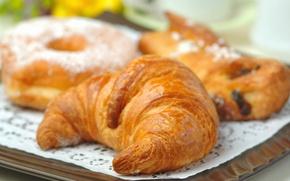 Обои рогалик, food, десерт, dessert, donut, сладкое, круассан.пончик, 1920x1080, sweet, еда, croissant
