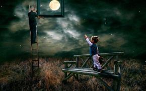 Обои луна, мальчик, Look garndad you have caught the moon for me, звёзды