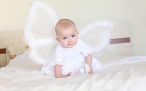 Обои обои, бабочка, кровать, ангел, девочка, wallpaper, малышка, ребёнок, ангелочек