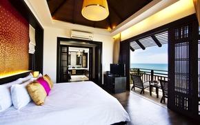Картинка кровать, подушки, балкон, спальня