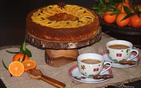 Картинка кофе, чашки, торт, выпечка, специи, мандарины
