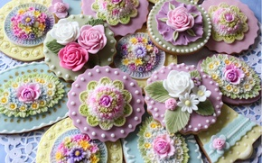 Обои цветы, печенье, выпечка, бусинки, украшения, сладкое, глазурь