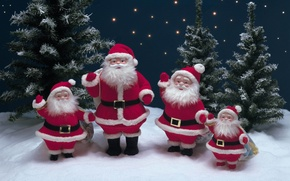 Картинка звезды, елки, Снег, ёлка, Санта Клаус, Дед Мороз, новогодние украшения