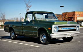 Обои car, авто, Chevrolet, классика, vintage, cars, винтаж, Chevy, truck, Pickup, Chevy C10, C10