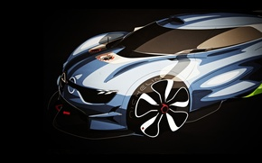 Обои Concept, арт, Renault, полумрак, Рено, art, передок, sketch, ренднринг, Алпайн, Alpine, A110-50
