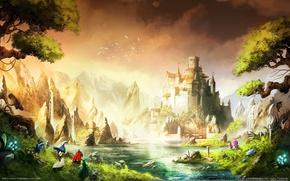 Обои пейзаж, горы, птицы, река, люди, замок, водопад, крепость, trine 2