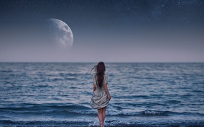 Картинка море, девушка, луна