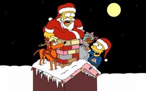 Картинка собака, homer simpson, подарки, борода, зима, живот, обои, труба, гирлянды, настроение, ночь, мешок, 1920x1200, санта, ...