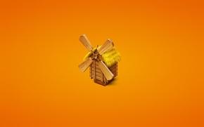 Обои минимализм, дерево, тросник, оранжевый фон, трава, mill, мельница
