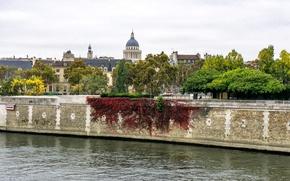 Картинка Пантеон, деревья, Париж, Франция, Сена, река