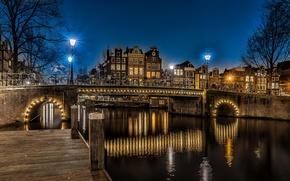 Картинка ночь, мост, огни, Амстердам, фонари, канал, Нидерланды