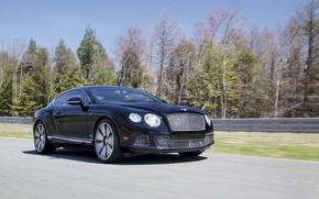 Картинка Авто, Bentley, Continental, Черный, Le Mans, Машина, Бентли, Автомобиль, Купэ, В Движении