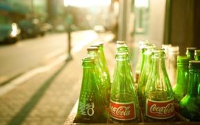 Обои солнце, зеленые бутылки, кока-кола, coca-cola
