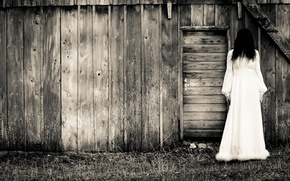 Картинка woman, white dress, dark, terror, barn