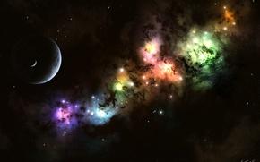 Обои планета, луна, свет, звезды, nebula