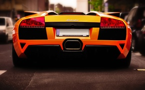 Картинка дорога, улица, Roadster, Lamborghini, чудо, оранжевое, Murcielago, LP640