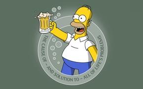 Обои пиво, симпсоны, simpsons, гомер, homer, beer, Мультфильм