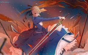 Картинка девушка, оружие, кровь, меч, аниме, арт, флаги, saber, fate stay night, xi chen chen
