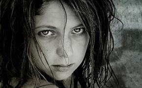 Картинка взгляд, девочка, портрет.веснушки