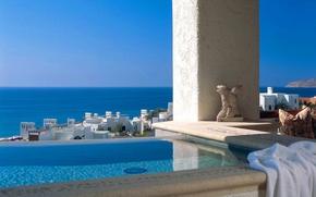 Картинка море, вид, бассейн, Греция, jacuzzi with sea view