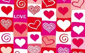 Картинка vector, сердечки, red, love, pink, hearts, valentine