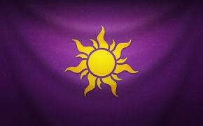 Картинка фиолетовый, солнце, фон, флаг, Рапунцель, эмблема, Tangled, Rapunzel, Рапунцель: Запутанная История
