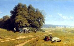 Картинка дорога, лес, небо, облака, деревья, пейзаж, человек, картина, даль, живопись, телега, костёр, Орловский, буйволы