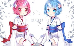 Картинка дети, фон, кимоно, юката, демоны, anime, art, сёстры, рог, заколки, Ram, Rem, Re: Zero kara …