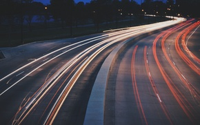 Картинка lights, road, cars, evening, traffic, highway, vehicles, long exposure