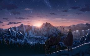 Картинка небо, девушка, солнце, звезды, облака, закат, горы, природа, аниме, олень, арт, рога, nauimusuka
