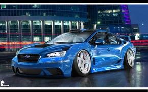 Картинка гонки, WRX, subaru, синяя, субару импреза, виртуальный тюнинг