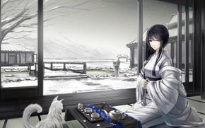 Обои кошка, снег, арт, горы, зима, чаепитие, сидя, кимоно, kikivi, дом, девушка