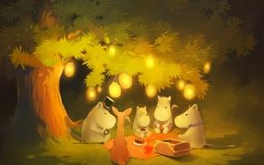 Картинка лес, огни, дерево, вечер, огоньки, moomintroll