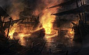 Обои бой, корабли, огонь