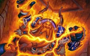 Картинка магия, карта, арт, борода, WoW, World of Warcraft, дворф, жрец, Hearthstone, Божественный дух, Divine Spirit